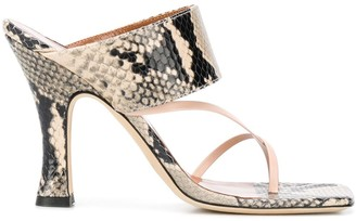 Paris Texas Snakeskin Effect Mules