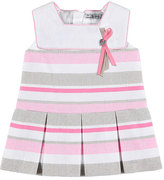Mayoral Sleeveless Pleated Striped Tweed Dress, Pink, Size 12-36 Months