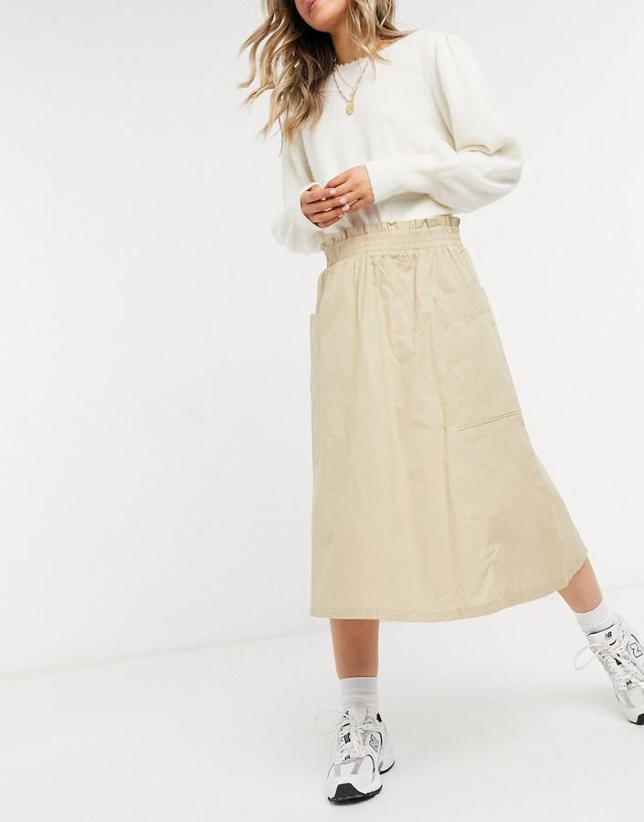 Thumbnail for your product : Monki midi skirt in beige