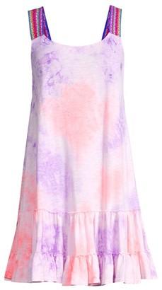 Pitusa Tie-Dye Gathered Mini Cover-Up Dress
