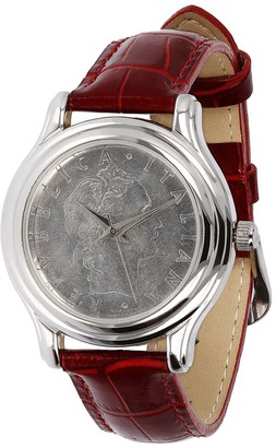 Sterling Silver Coin Dial Leather Strap Watch