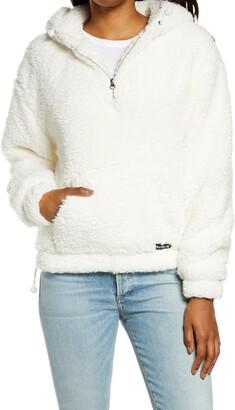 Hurley Quarter Zip Faux Fur Hoodie Pullover