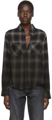 Amiri Green and Black Plaid Ombre Shirt