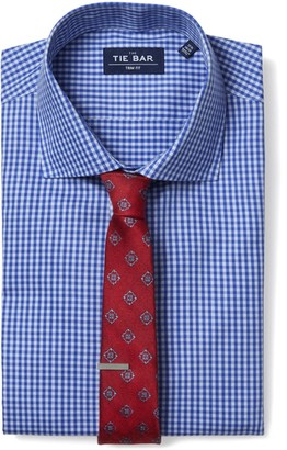 The Tie Bar Classic Blue Two Tone Gingham Non-Iron Shirt