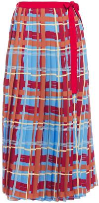 Stella Jean Pleated Printed Crepe De Chine Midi Wrap Skirt
