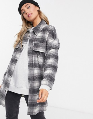 Stradivarius longline overshirt shacket in grey check