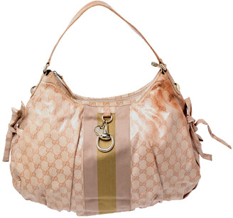 Gucci Pink GG Crystal Coated Canvas Vintage Web Hobo