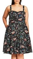 City Chic Plus Size Women's Parisian Chic Print Fit & Flare Sundress
