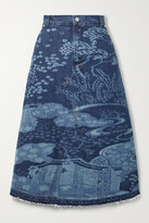 Thumbnail for your product : RED Valentino Frayed Printed Denim Midi Skirt - Blue
