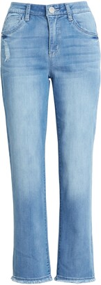 Wit & Wisdom Luxe Touch Ab-Solution Distressed High Waist Straight Leg Jeans