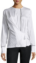Yigal Azrouel Long-Sleeve Tonal-Striped Blouse, Optic White