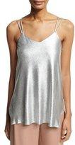 Halston Double-Strap Metallic Jersey Cami, Gray Metallic