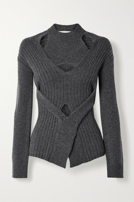 Dion Lee Cutout Wool And Cashmere-blend Sweater - Anthracite