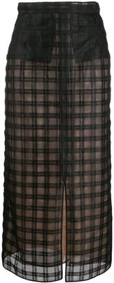 Marco De Vincenzo Sheer Check Tulle Skirt