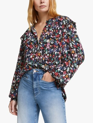 AND/OR Arlo Floral Blouse, Black