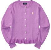 Ralph Lauren 7-16 Ruffled Cotton Cardigan