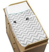 Sweet Jojo Designs Zig Zag Turquoise and Gray Collection Changing Pad Cover