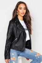 boohoo Jade Vegan Leather Biker Jacket black