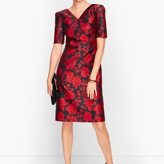 Talbots Back Bow Floral Jacquard A-Line Dress