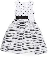 White & Black Stripe & Spot Tulle Dress - Infant Toddler & Girls