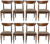 One Kings Lane Vintage Set of Eight Danish Style Dining Chairs - Castle Antiques & Design - dark walnut/ brown