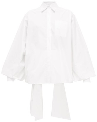 Valentino Back-ties Cotton-blend Poplin Shirt - Womens - White
