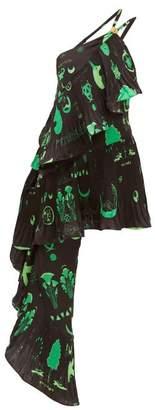 Marine Serre Shamanic-print Satin Mini Dress - Womens - Black Green