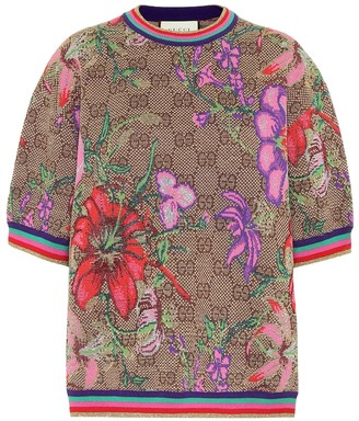 Gucci GG Flora wool-blend jacquard top