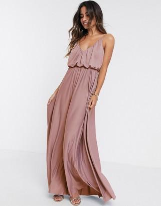 ASOS DESIGN cami plunge maxi dress with blouson top in rose