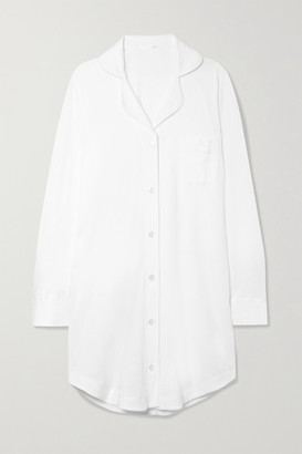 Skin Adrianna Brushed Pima Cotton-jersey Pajama Shirt - White