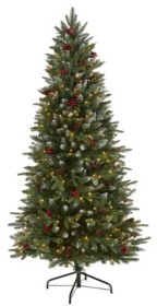 Nearly Natural Snow Tipped Portland Spruce Artificial Christmas Tree with Frosted Berries and Pinecones with 300 Clear Led Lights