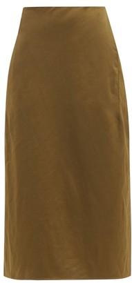 Jil Sander High-rise Sateen Midi Skirt - Dark Green