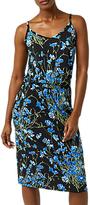 Warehouse Full Bloom Midi Dress, Black/Multi