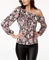 Bar III Printed One-Shoulder Top, Created for Macy's