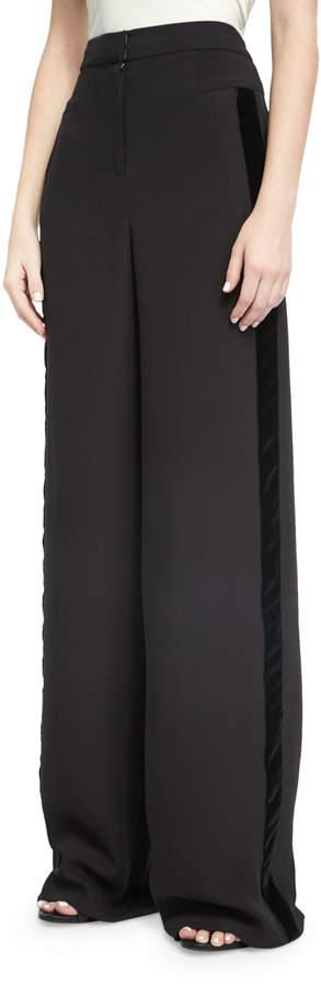 Naeem Khan Wide-Leg Velvet-Trim Tuxedo Pants, Black