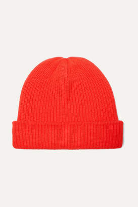 The Elder Statesman Watchman Ribbed Cashmere Beanie - Tomato red