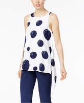 Alfani Petite Dot-Print Asymmetrical Top, Only at Macy's
