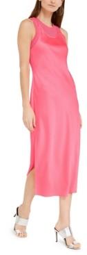 Armani Exchange Satin Layered-Look Midi Dress
