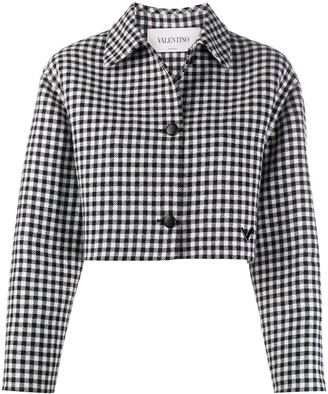 Valentino Cropped Check Pattern Jacket