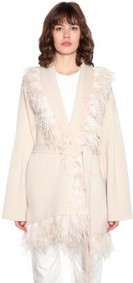Alanui Wool & Cashmere Knit Jacket W/feathers