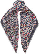 Jimmy Choo LUO Dark Blue and Fire Printed Scarf