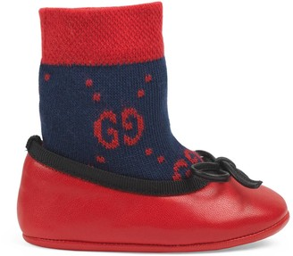 Gucci Baby leather ballet flat with GG sock