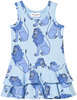 Mini Rodini Lion Frill Dress In Light Blue