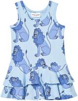 Mini Rodini Lion Frill Dress In Light Blue