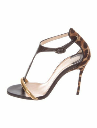 Christian Louboutin Leather Animal Print T-Strap Sandals Black