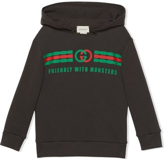 Gucci Kids Friendly With Monsters logo hoodie