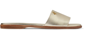 Jimmy Choo MINEA FLAT Champagne Metallic Nappa Leather Flats with Gold JC Button