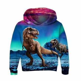 Kotwerer Dinosaur 3D Print Children Hoodies Autumn Thin Sweatshirt Kids Boys Girls Hooded Pullover Tzn050 3T