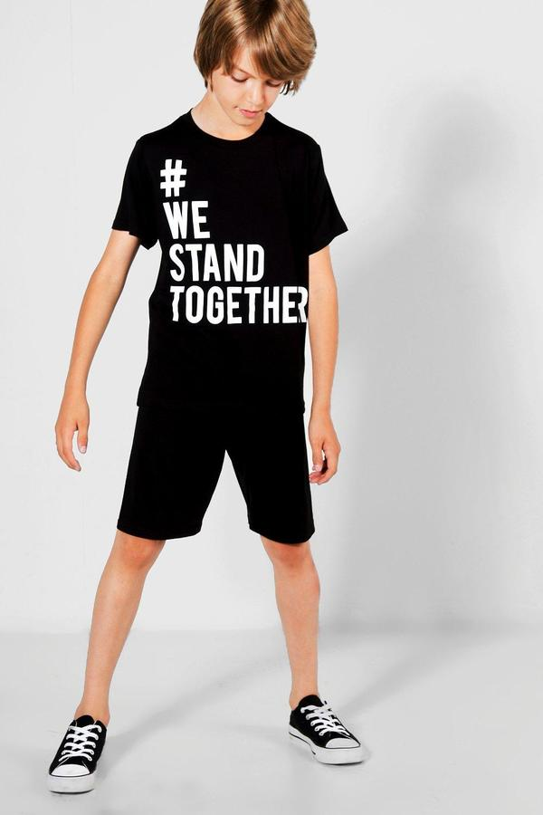 boohoo Charity Boys We Stand Togther Tee & Short Set black