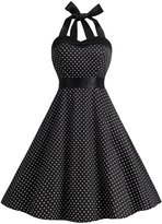 Dresstells® Halter 1950s Vintage Audrey Dress Polka Dots Retro Cocktail Dress M